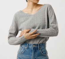 NUDIE VN CABLE KNIT TOPS ヌーディーVネックケーブルニットトップス