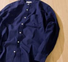 パナマ長袖バンドカラーシャツ