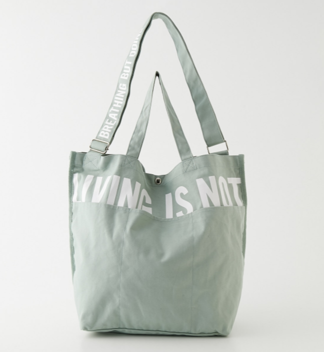 LIVING IS NOT LOGO TOTE BAG